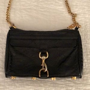 Rebecca Minkoff black leather mini Mac crossbody